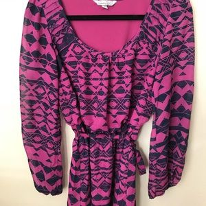 Speechless Dresses - Lavender long sleeve short dress with tie
